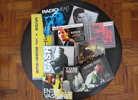 Dez CDs comprados na viagem