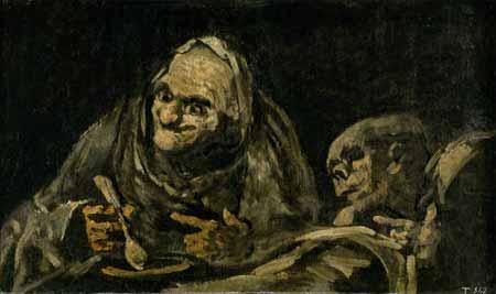 """""""Dos viejos comiendo"""", uma das pinturas negras de Goya"""