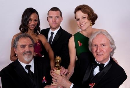 """James Cameron e os atores de """"Avatar"""""""